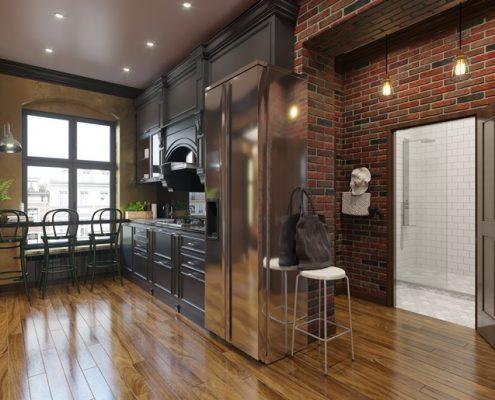 Klasyczna zabudowa kuchenna w lofcie - Francesco Design