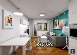 Kolorowe wnętrze jasnego mieszkania - Huk Architekci