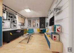 Kolorowy pokój dzienny z aneksem kuchennym - Huk Architekci