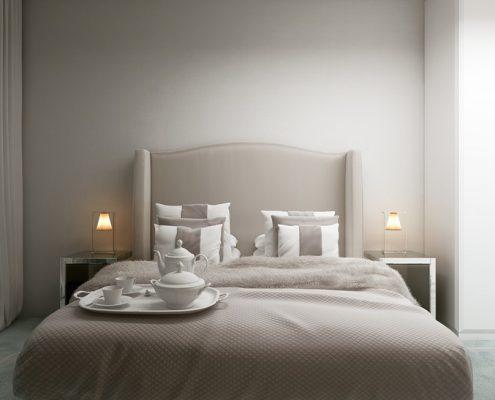 Mała sypialnia w stylu modern classic