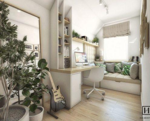 Mały gabinet - poddasze - Huk Architekci