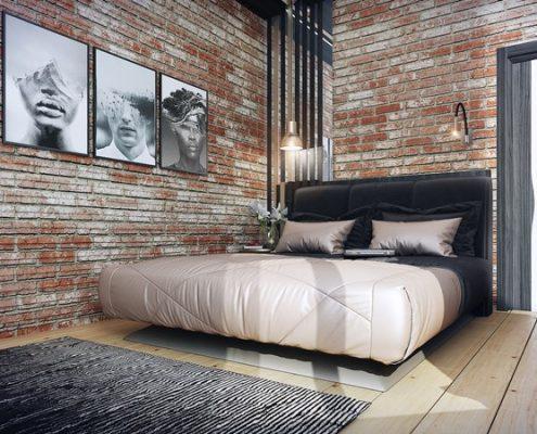 Naturalna cegła w sypialni - Francesco Design