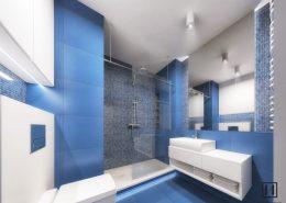 Niebieska łazienka w dwóch wariantach - Huk Architekci