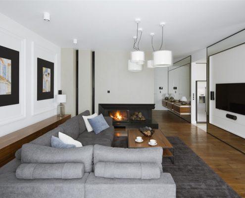 Pomysł na pokój dzienny z kominkiem - Hola Design