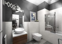 Projekt łazienki w monochromatycznych kolorach - Huk Architekci