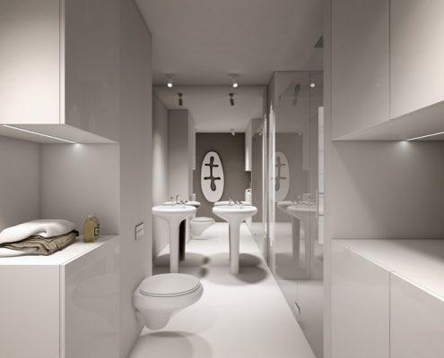 Projekt białej łazienki w nowoczesnym stylu