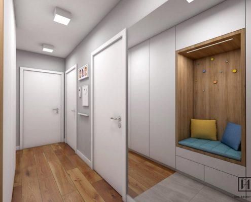 Projekt korytarza w mieszkaniu - Huk Architekci