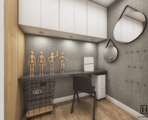Projekt niewielkiej pracowni w mieszkaniu - Huk Architekci