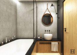 Stylowa łazienka w naturalnych kolorach - Huk Architekci
