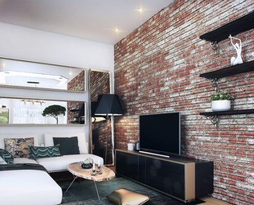 Stylowy pokój dzienny w małym lofcie - Francesco Design