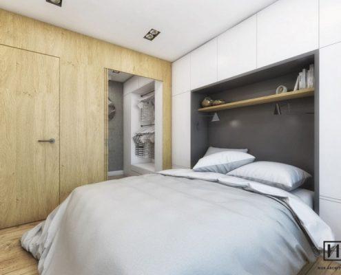 Sypialnia z zabudowanym wezgłowiem łóżka - Huk Architekci