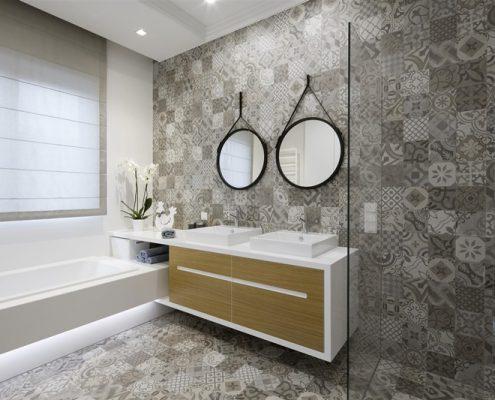 Szare płytki w nowoczesnej łazience z wanną - Hola Design