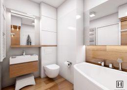 Wystrój łazienki w bieli i drewnie - Huk Architekci