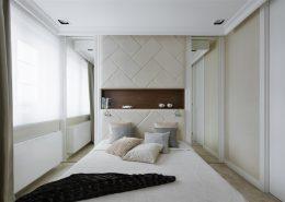 Wystrój sypialni z tapicerowaną ścianą - Hola Design