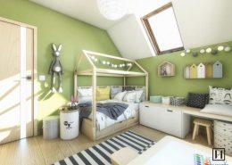 Zielony pokój dziecięcy - Huk Architekci