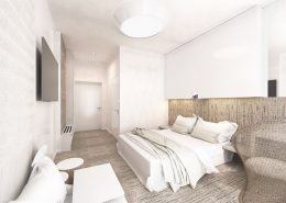 Biała sypialnia z kącikiem wypoczynkowym - Concept