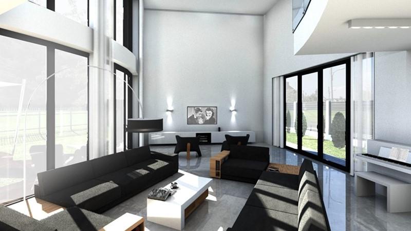 Czarno-białe wnętrza - salon