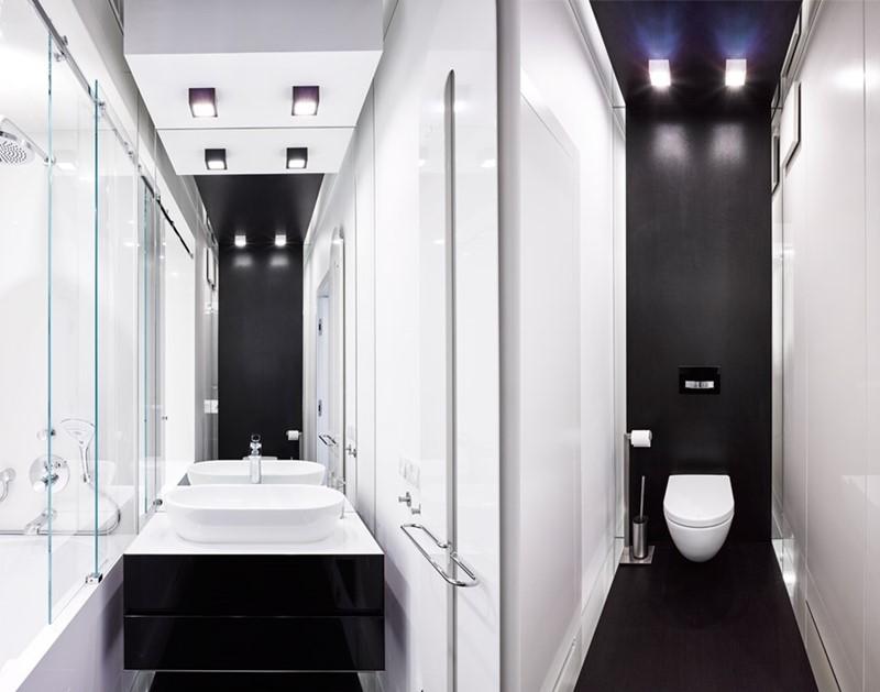 Czarno-białe wnętrza - łazienka toaleta