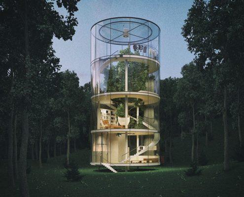 Drzewo w domu architektura - Aibeka Almassova