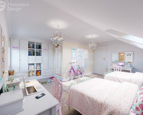 Dwuosobowy pokój dla dziewczynek - Francesco Design