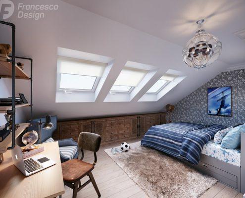 Mały pokój młodzieżowy na poddaszu - Francesco Design
