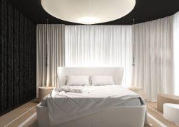 Nietuzinkowa sypialnia w nowoczesnym stylu - Concept Architektura Wnętrz