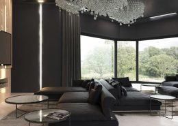 Otwarty pokój kominkowy w nowoczesny stylu - Concept