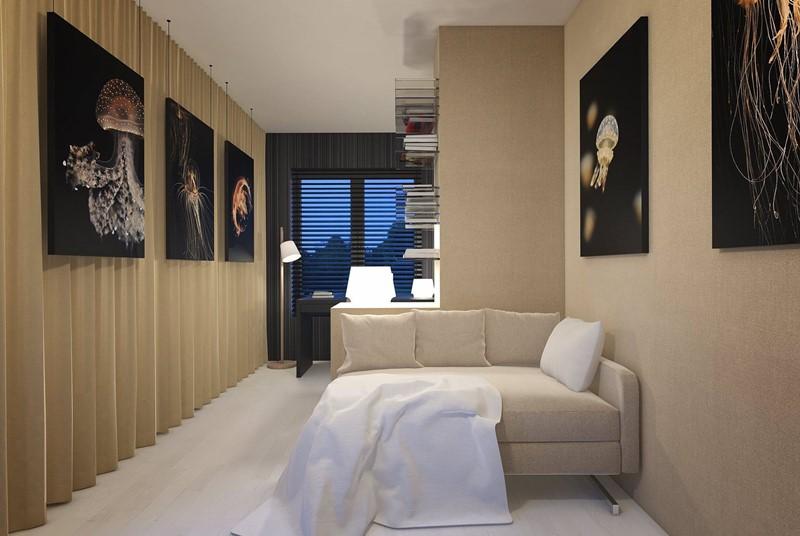 Projekt domowego gabinetu w beżach - Concept Architektura WNętrz