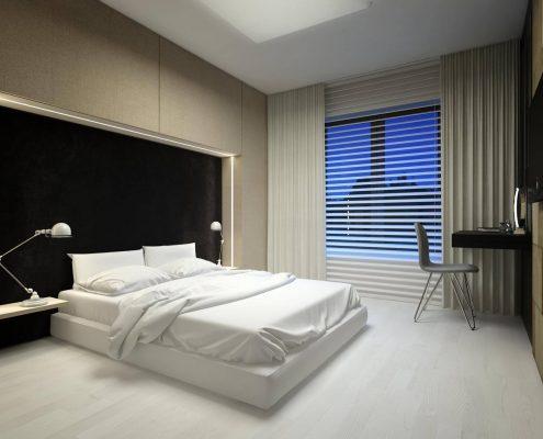 Projekt sypialni z małym biurkiem - Concept