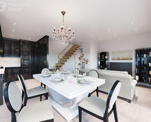 Salon z zabudową kuchenną - modern classic - Francesco Design