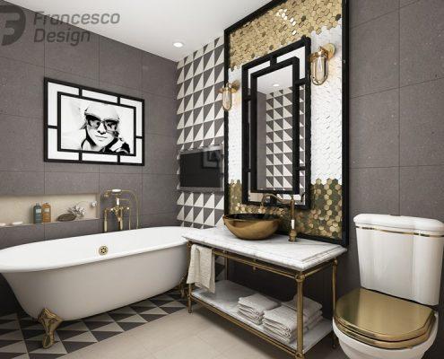 Łazienka art deco ze złotymi akcentami - Francesco