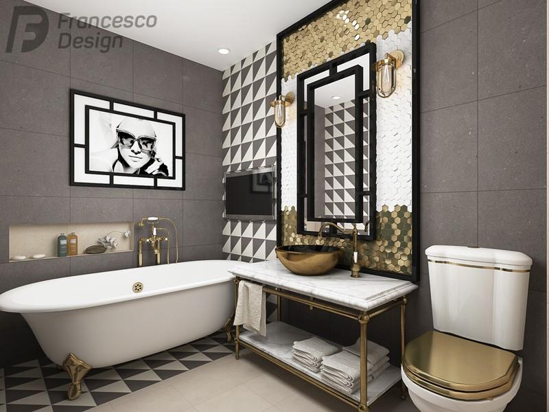 azienka art deco ze z otymi akcentami homesquare. Black Bedroom Furniture Sets. Home Design Ideas