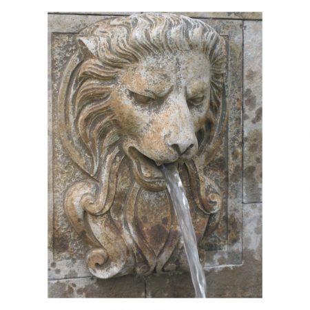 Ścienna fontanna lew z kamienia