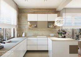 Ściany wykończone kamieniem - kuchnia - Ludwinowska