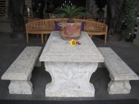 Betonowy stoł + dwie ławy ogrodowe Livingstone Terrasso