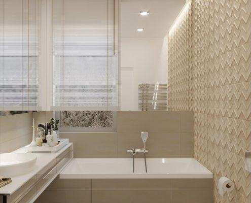 Biało-kremowa łazienka z wanną - Ludwinowska