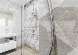 Biało-szara łazienka z prysznicem - Dragon Art