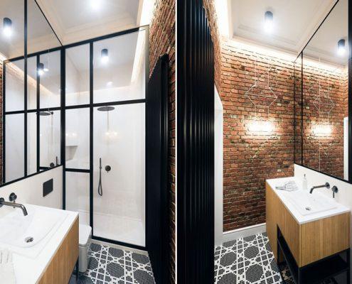Ceglana ściana w łazience -Dragon Art
