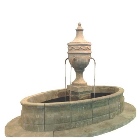 Kamienna owalna fontanna w klasycznym stylu Stone029