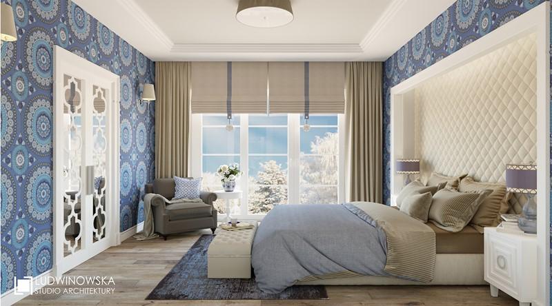Kolor niebieski w klasycznej sypialni - Agnieszka Ludwinowska