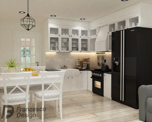 Mała, otwarta kuchnia w stylu modern classic - Francesco Design