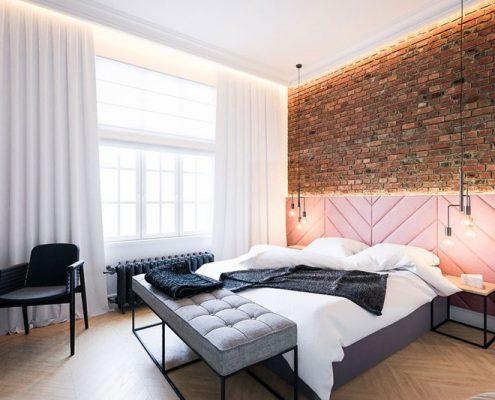 Minimalistyczna sypialnia w kamienicy - Dragon Art