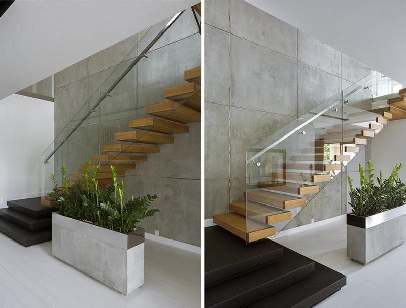 Oryginalne schody szklane balustrady