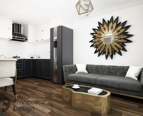 Oryginalny salon z otwartą kuchnią - Francesco Design