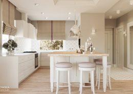 Otwarta kuchnia w bieli i beżach - Ludwinowska