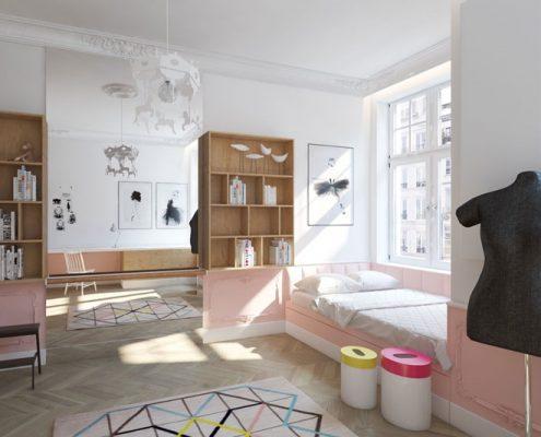 Pokój dla dziewczynki w bieli i różu - Dragon Art