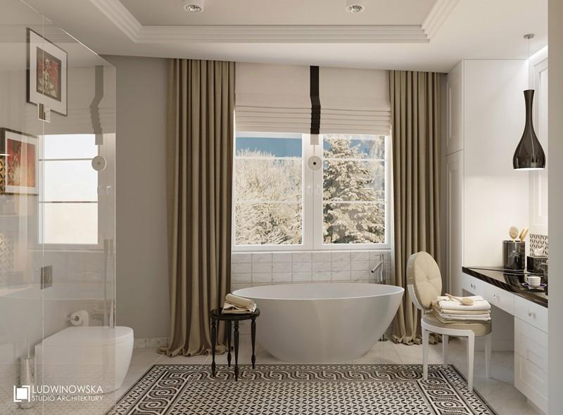 Pokój kąpielowy w szykownej bieli - Agnieszka Ludwinowska