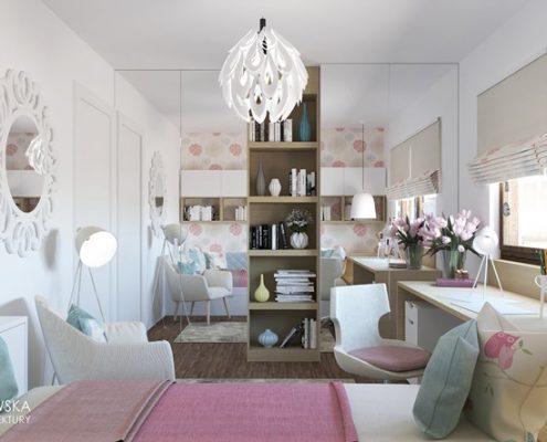 Różowe akcenty w pokoju dla nastolatki - Ludwinowska