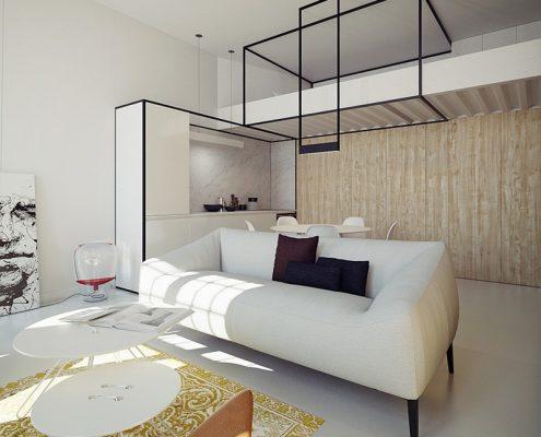 Salon z sypialnią na antresoli