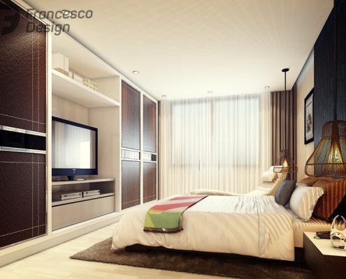 Stylowa sypialnia w ciepłych kolorach - Francesco Design